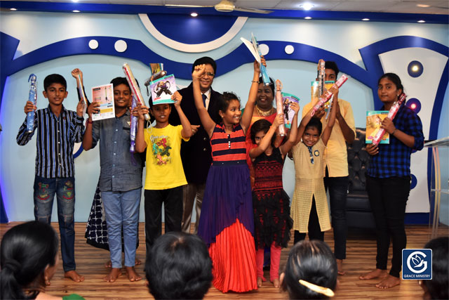 About Ten Poor and needy Students from Various Schools and Colleges of Mangalore brightened up as they received books, umbrellas and Education Scholarship from Grace Ministry on Sunday, June 16th, 2019.